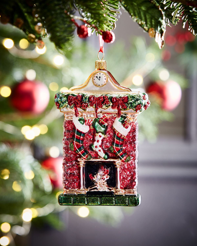 Glass Fireplace Christmas Ornament