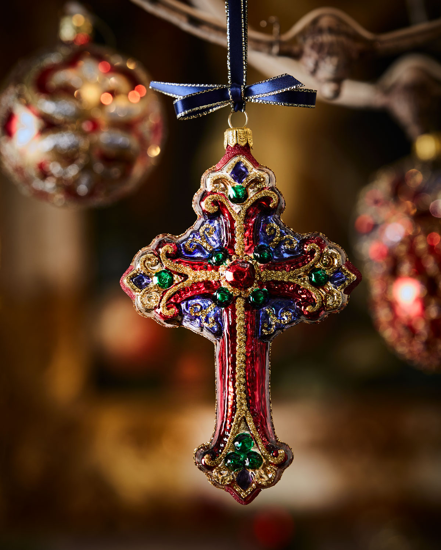 Handmade Glass Cross Christmas Ornament