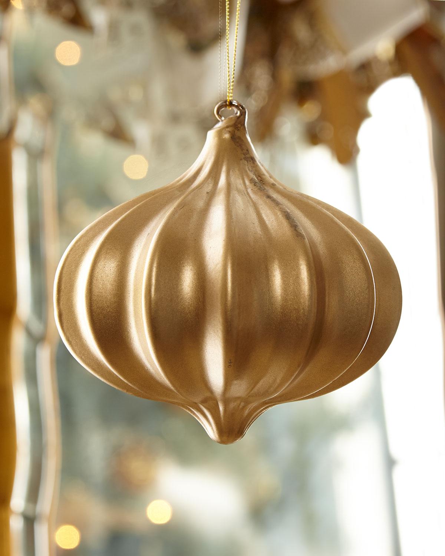 Kismet Ribbed Gold Christmas Ornament