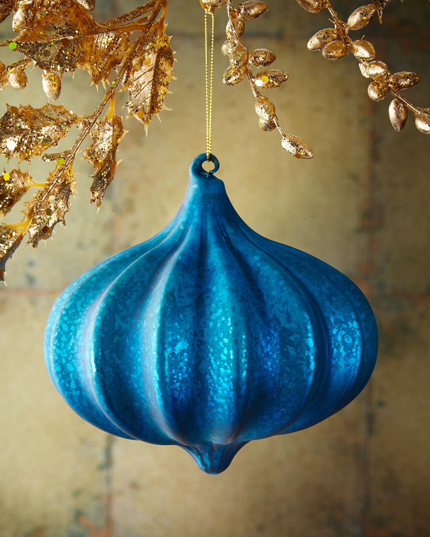 Kismet Ribbed Blue Christmas Ornament