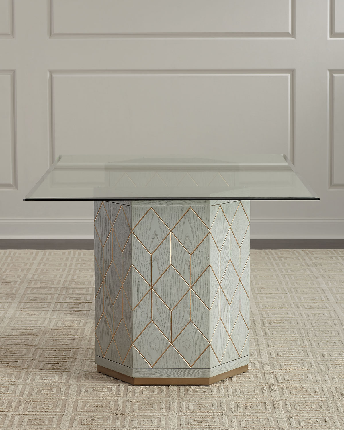 Aurora Double Pedestal GlassTop Dining Table