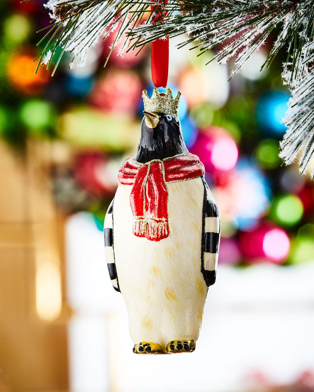 King Penguin Glass Christmas Ornament