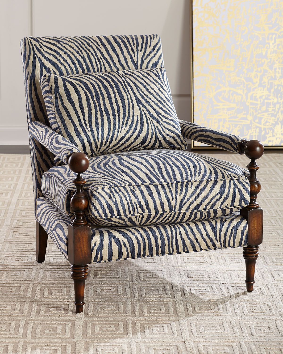 Zebra TransitionalStyle Arm Chair