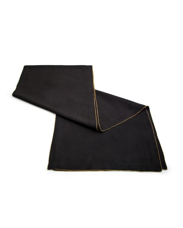 BrassBeaded Linen Table Runner Charcoal