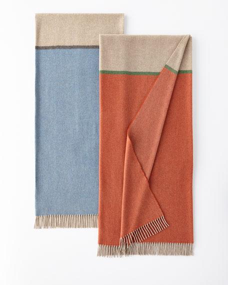 Enzo Degli Angiuoni Bicolor Merino Wool-Cashmere Throw