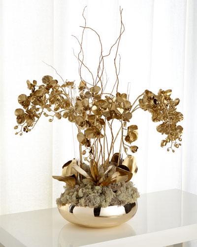 Golden Phalaenopsis Orchid Faux Floral Arrangement