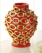 Dolfi Gold Chain Wrapped Vase, Orange