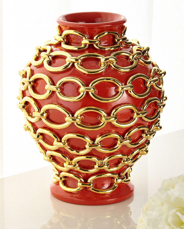 Dolfi Clothing GOLD CHAIN WRAPPED VASE, ORANGE
