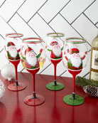 Neiman Marcus Hand-Painted Santa Wine Glasses, Set of
