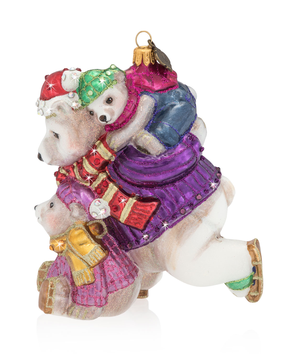 Mother and Baby Skating Polar Bears Glass Christmas Ornament