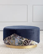 Haute House Misha Faux-Fur Round Ottoman