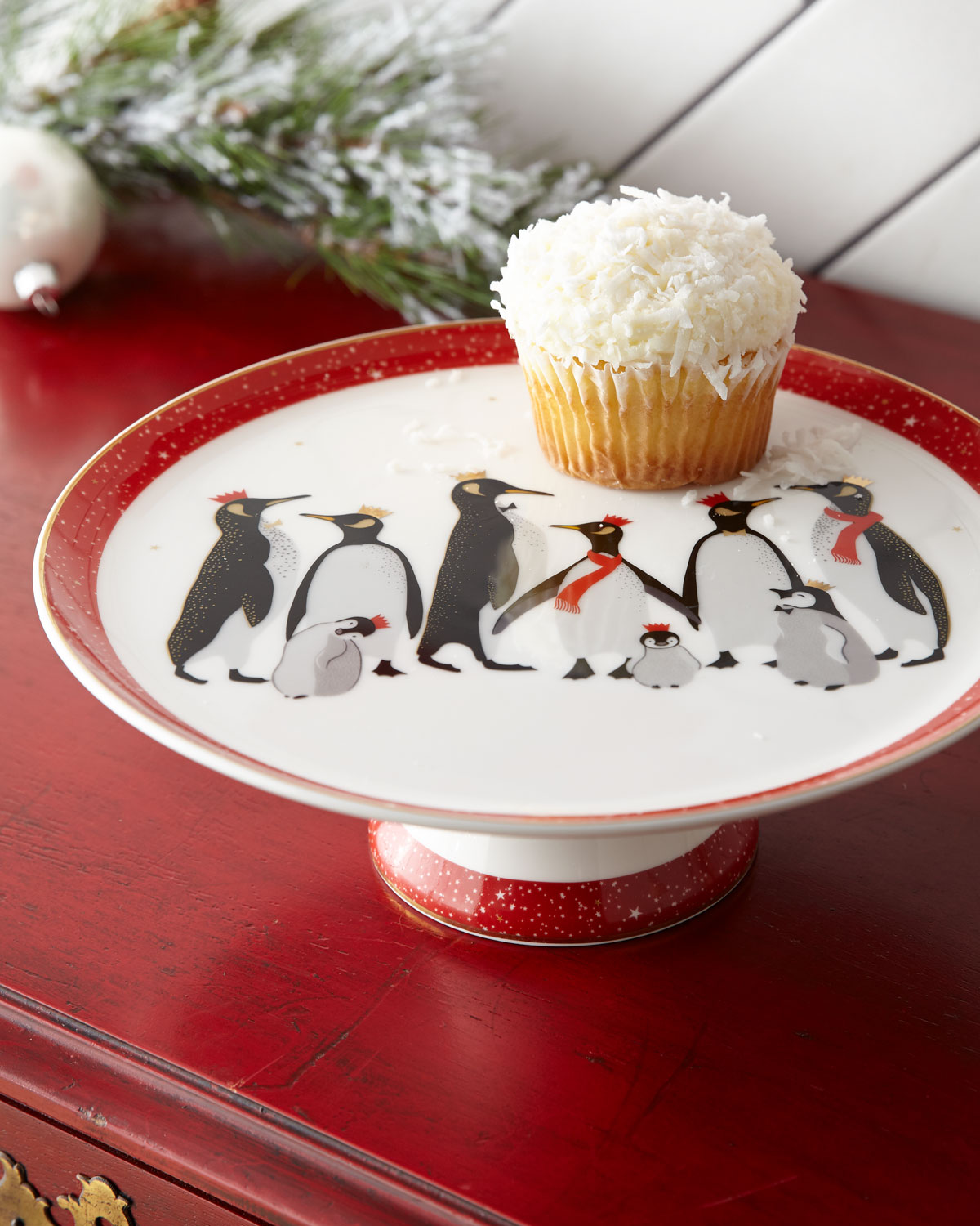 Red Penguins Holiday Footed Cake Plate