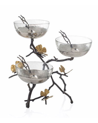 Butterfly Gingko Triple Bowl Set