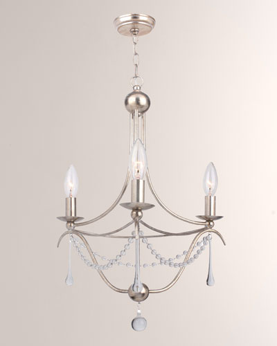 Metro 3-Light Antiqued Silver Mini Chandelier