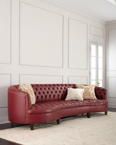 Magnolia Oxblood Tufted Leather Sofa 126
