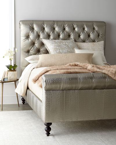 Jesse Faux-Leather Tufted King Bed