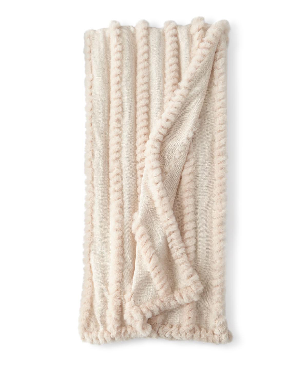 Blush Knitted Faux-Fur Throw Blanket