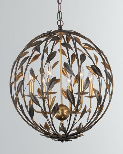 Broche 6-Light English Bronze and Antiqued Gold Sphere Chandelier