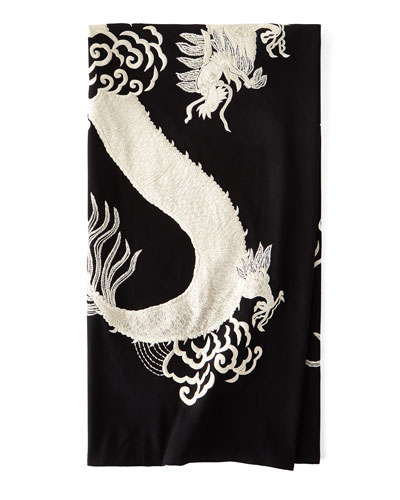 Dragon Embroidery Throw