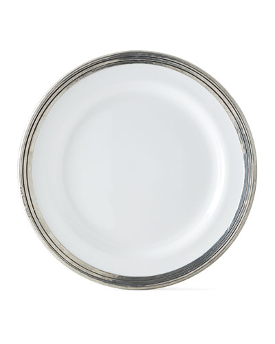 Pewter and Ceramic Dinner Plate