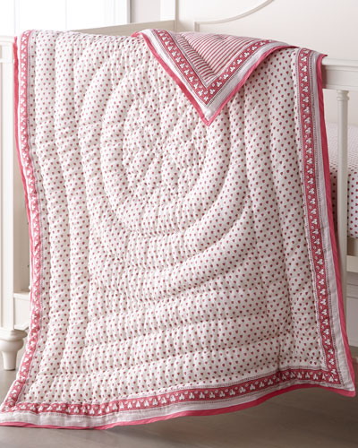 Hearts-Print Baby Quilt