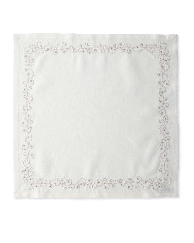 Ritz Embroidered Linen Napkin, White/Silver