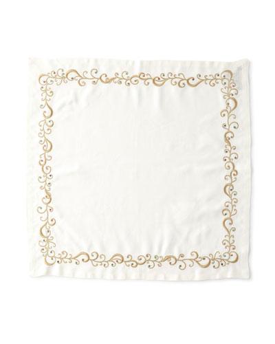 Ritz Embroidered Linen Napkin, White/Metallic