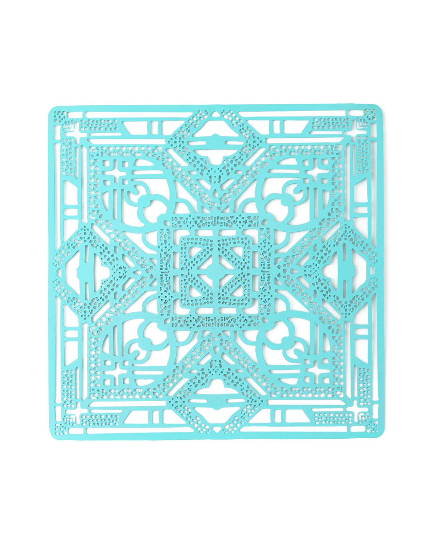 Filigree Metal Placemat, Turquoise