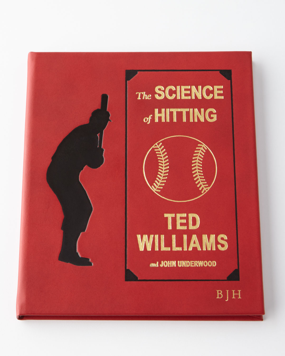 "The Science of of Hitting by Ted Williams and John Underwood. Personalization is up to three initials in gold foil and style shown. Italian bonded leather cover. 8""W x 0.5""D x 9.5""T. Made in the USA of imported materials."