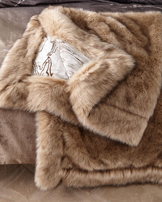 Moire Faux-Fur Throw Blanket