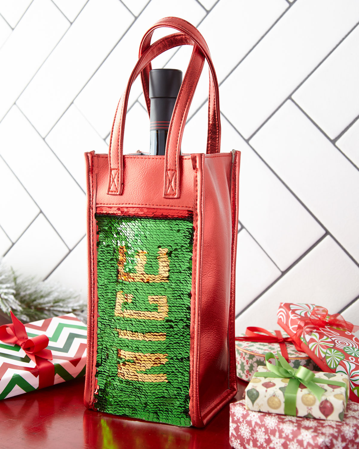Naughty Nice Sequin Wine Bag