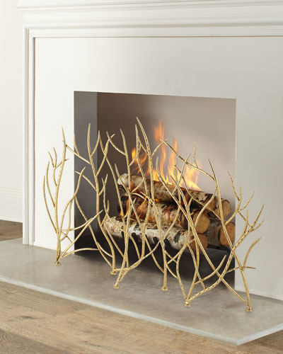Gold Branches Fireplace Screen