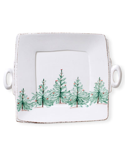 Lastra Holiday Square Handled Platter