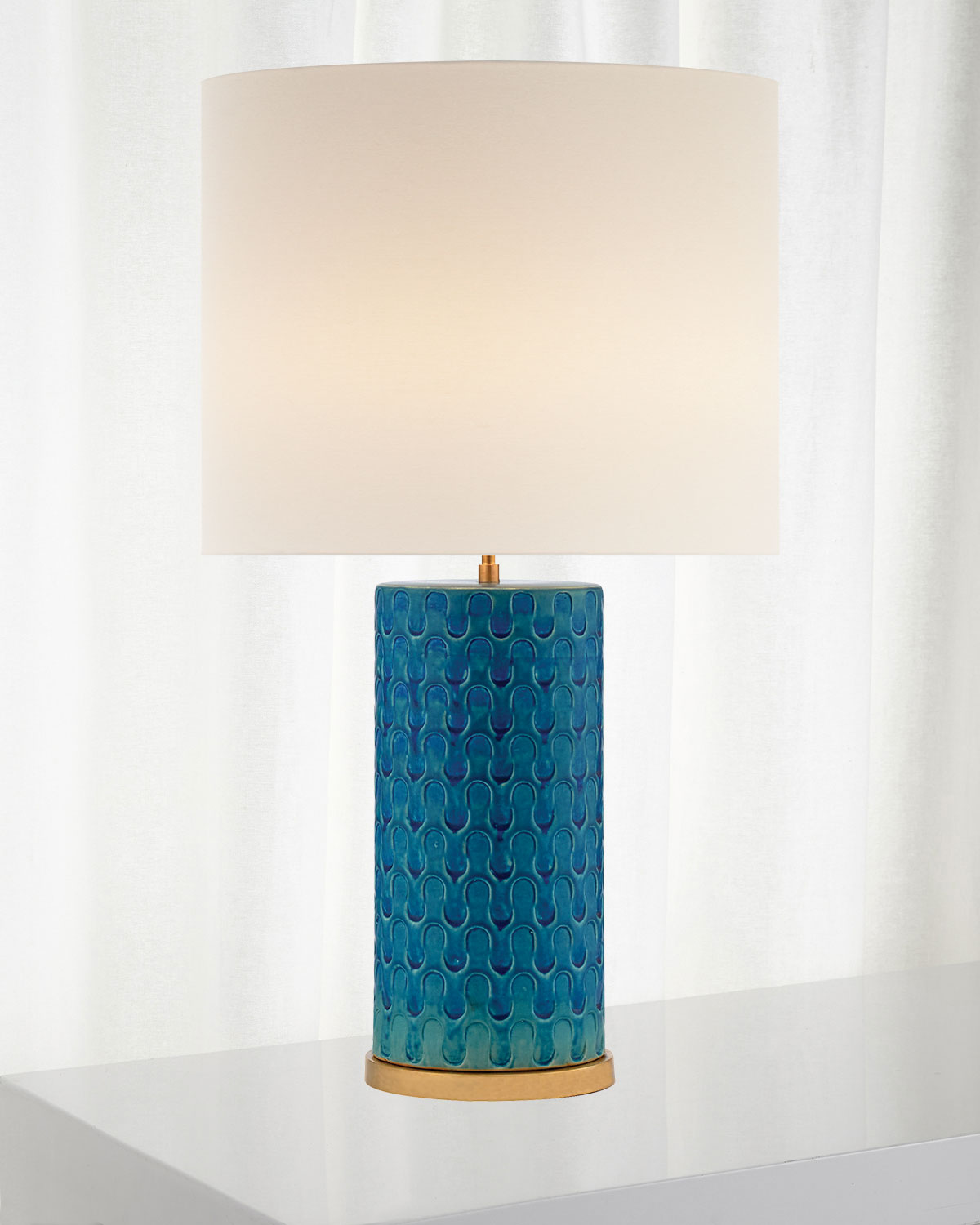 Eliot Blue Wave Table Lamp with Linen Shade