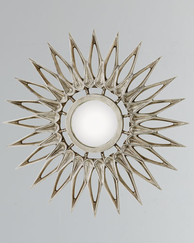 Dahlia Large Nickel Mirror