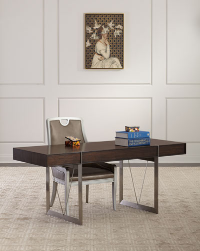 Rowan Leather & Stainless Steel Writing Desk