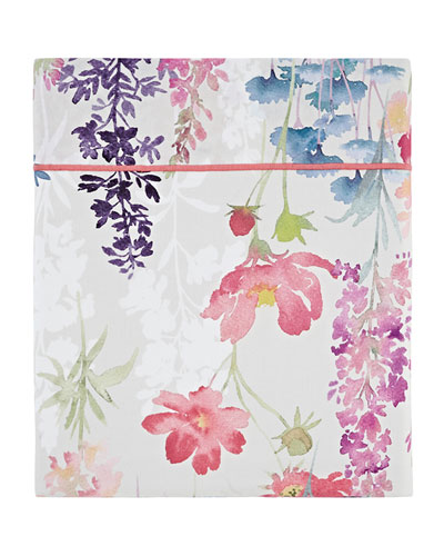 Babylone 200 Thread-Count Floral King Flat Sheet