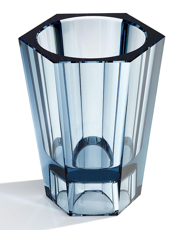 Medium Reversible Crystal Vase, Blue