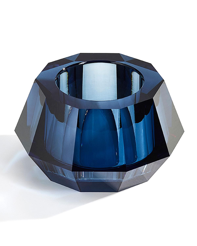 Round Crystal Votive Candleholder, Blue