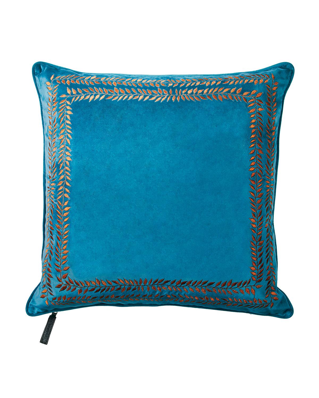 Valencia Embroidered Velvet Throw Pillow, Turquoise