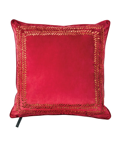 Valencia Embroidered Velvet Throw Pillow, Red