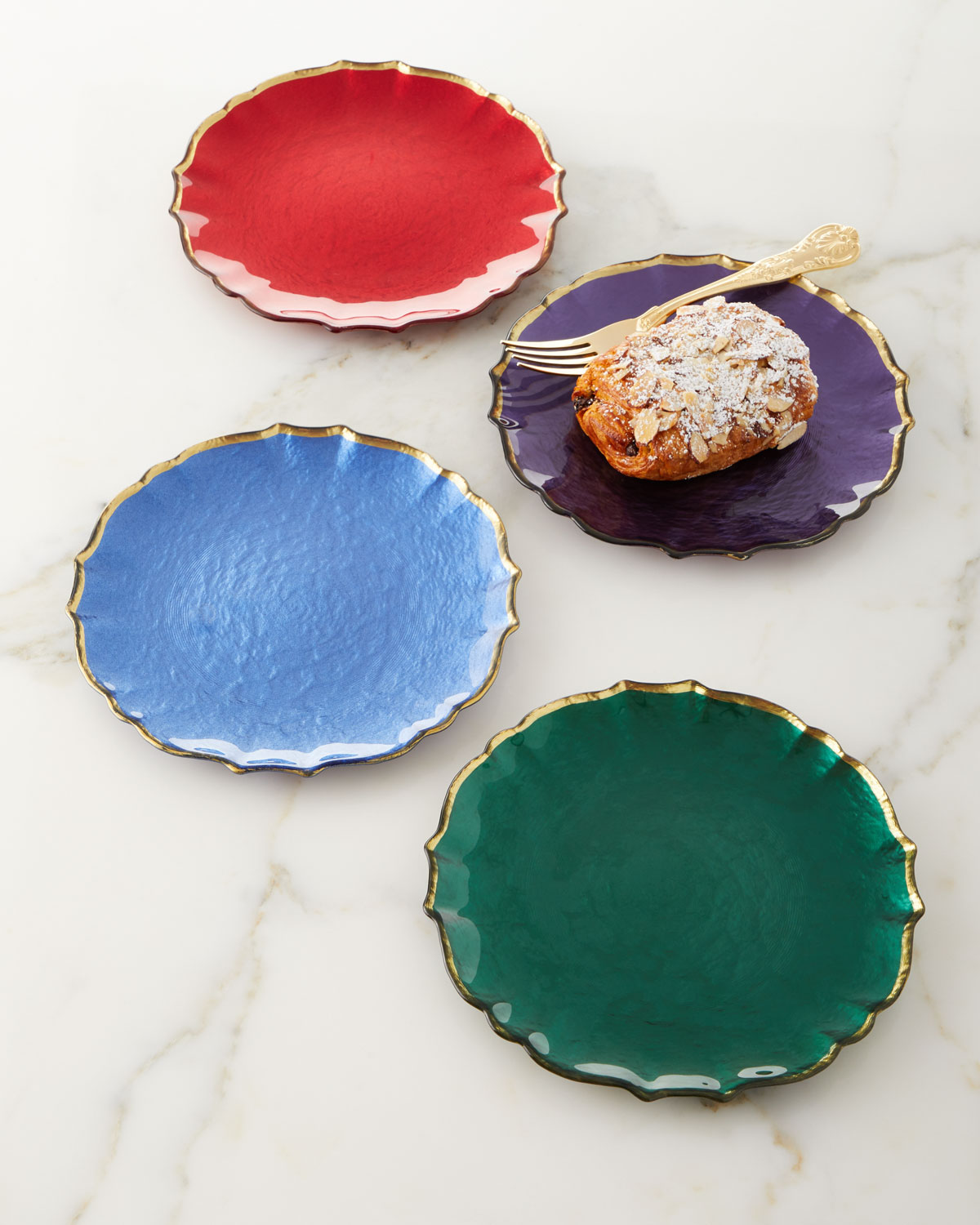 Assorted Jewel-Tone Glass Salad Plates, Set of 4