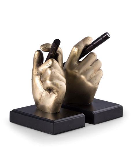 Bey-Berk Hand Holding Cigar Brass Bookends