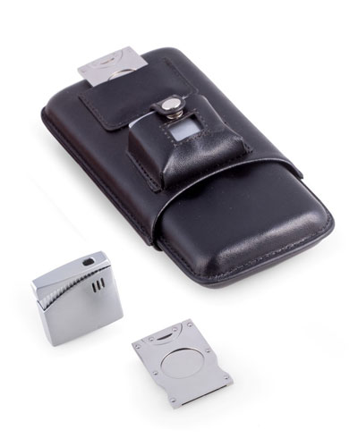 Cigar Accessory Set with Leather Case