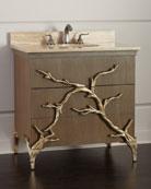 Ambella Branch Travertine-Top Vanity with Porcelain Sink