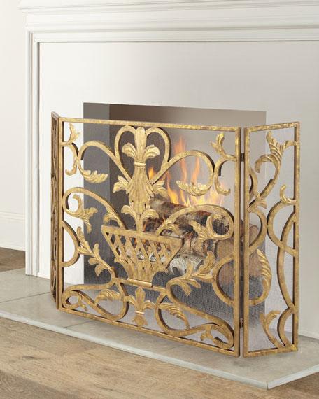 Three-Panel Iron Fireplace Screen with Urn Design