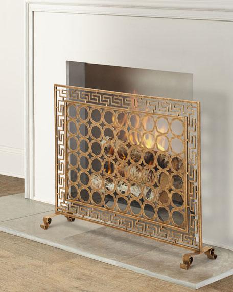 Tole Greek Key Single Panel Fireplace Screen
