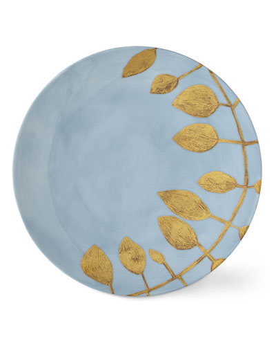 Daphne Lavande Gold-Leaf Dinner Plate, Blue