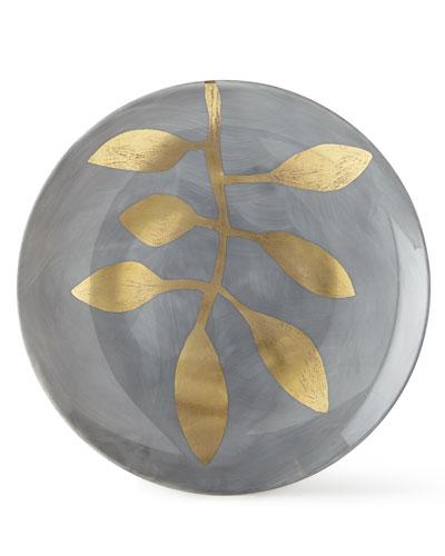 Daphne Lavande Gold-Leaf Dessert Plate, Gray