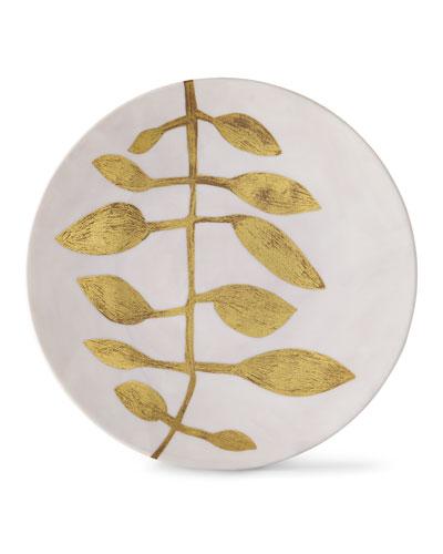 Daphne Camelia Gold-Leaf Buffet Plate, Pink